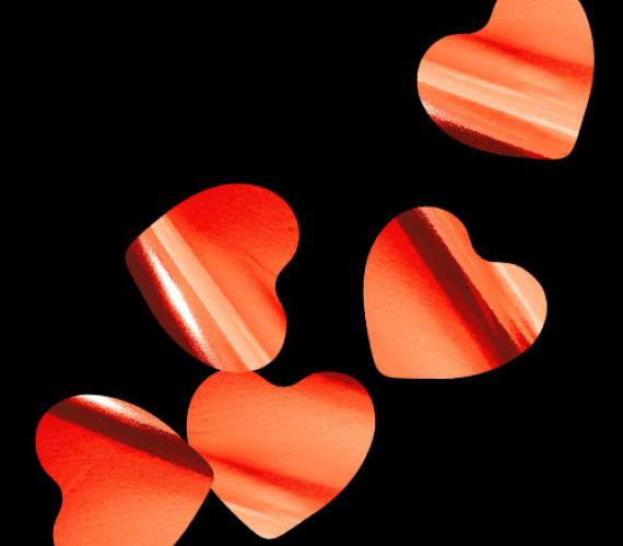 Конфетти металлизированное Сердца красные