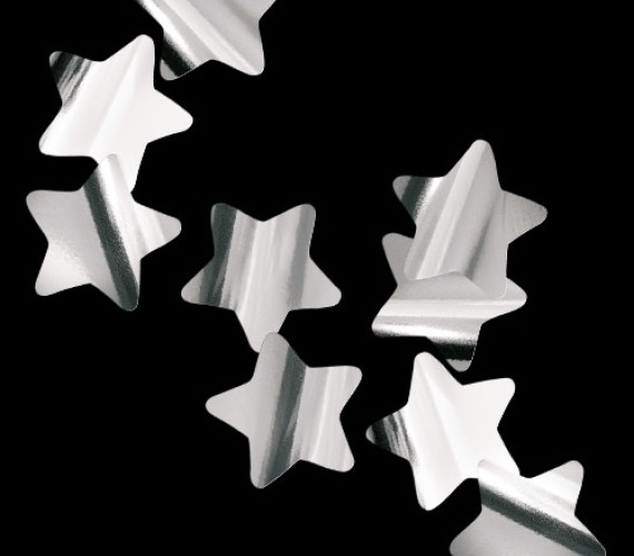 Конфетти металлизированное Звезды серебро